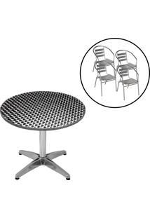 Conjunto Mesa Redonda Com 4 Cadeiras Em Alumínio Para Jardim Mor