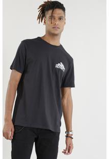Camiseta Masculina Motocicleta Manga Curta Gola Careca Preta