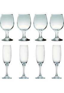 Kit 4 Taças Para Vinho Tinto 245 Ml E 4 Taças Champanhe 190Ml Sture Móveis