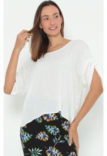 Blusa Lisa Com Recortes- Off White- Colccicolcci