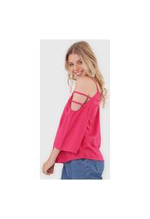 Blusa Ciganinha Mercatto Recortes Pink