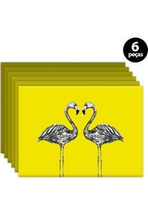 Jogo Americano Mdecore Flamingo 40X28Cm Amarelo 6Pçs