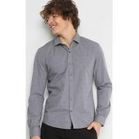 f251c81b7 Camisa Slim Em Jacquard Ellus Estampada Manga Longa Masculina - Masculino -Cinza