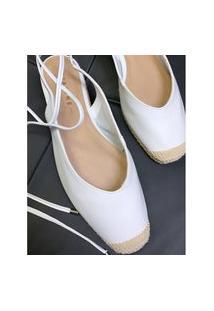 Sapatilha Chanel Com Amarração Eunice Branco 36 Lelive