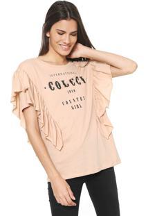 Camiseta Colcci Babados Bege