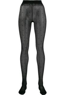 Saint Laurent Sheer Dotted Tights - Preto