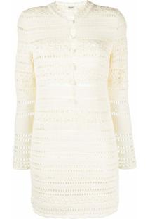 Saint Laurent Vestido De Tricô - Branco