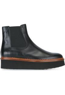 Tod'S Ankle Boot De Couro Plataforma - Preto