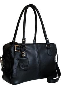 Bolsa Line Store Leather Clássica Bolsos Couro Preto - Kanui