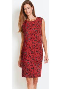 Vestido Tubinho Com Amarração Floral Vermelho