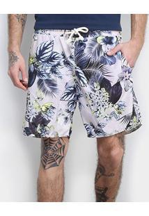 Shorts Gajang Floral Masculino - Masculino-Roxo