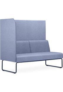 Sofa Privativo Pix Com Lateral Direita Aberta Assento Mescla Azul Base Aco Preto - 54981 - Sun House