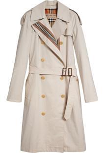 Burberry Trench Coat Com Cinto - Cinza