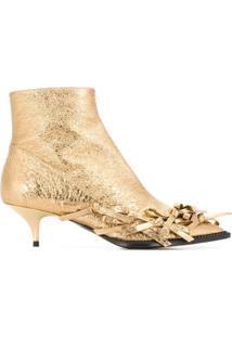 Nº21 Ankle Boot 'Vulcano Mekong' De Couro - Dourado