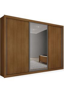 Armário 03 Portas De Correr 2,76 Espelho Central, Imbuia, Premium Plus Ii