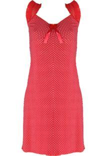 Camisola Femina Lingerie Longuete Vermelha