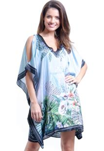 Vestido 101 Resort Wear Kaftan Curto Cetim Estampa Floral Fundo Azul Claro