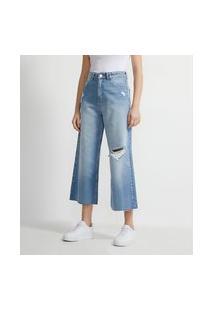 Calça Pantacourt Jeans Com Rasgos E Barra Desfiada | Blue Steel | Azul | 42