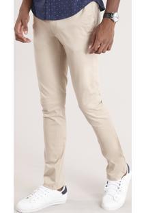 Calça Masculina Chino Slim Em Algodão + Sustentável Kaki
