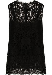Dolce & Gabbana Blusa Sem Mangas Com Renda - Preto