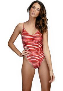 Body Nanui Swim Cavado Listrado Vermelho Anne Multicolorido