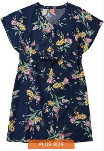 Vestido Azul Marinho Kaftã Floral