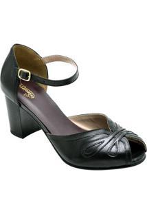 Sandália Retro Com Salto Sapatofran De Couro Confortável Feminino - Feminino-Preto