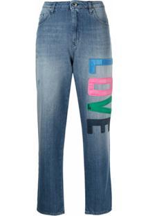 Love Moschino Calça Jeans Cropped Cintura Média Com Patch De Logo - Azul