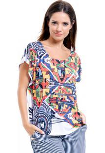 Blusa 101 Resort Wear Tunica Careca Estampada Multicolorida