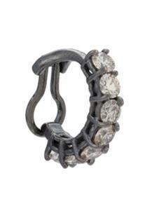 Jack Vartanian Piercing 'Chain Lovers' Ouro Branco 18K Ródio Negro Com Diamantes - Prateado