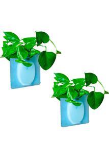 Kit Com 2 Vasos Adesivos De Silicone Para Parede Flor Planta Decoração