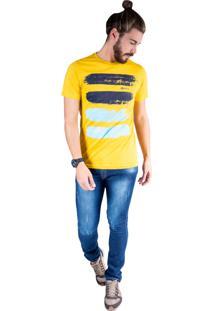 Camiseta Mister Fish Estampado Arte Com Tinta Plus Size Mostarda