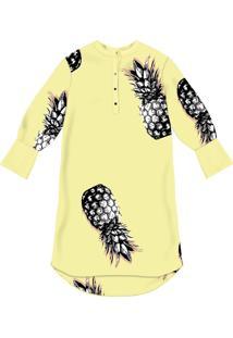 Vestido Chemise Manga 3/4 Mídi Pineapple - Lez A Lez