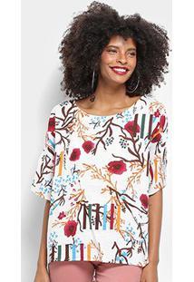 Blusa Top Moda Alongada Floral Feminina - Feminino-Branco