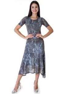 Vestido Midi Opera Rock Full Animal Oprk Feminino - Feminino-Azul