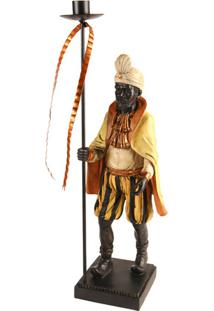 Castiçal De Resina Decorativo Ethnic