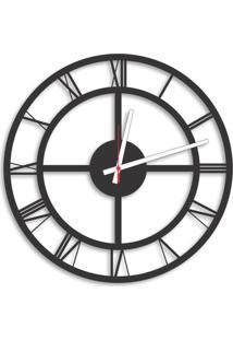 Relógio De Parede Decorativo Premium Números Romanos Vazado Preto Ônix 50Cm Grande