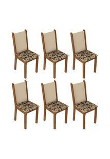 Kit 6 Cadeiras 4291 Madesa - Rustic/Crema/Bege Marrom Marrom