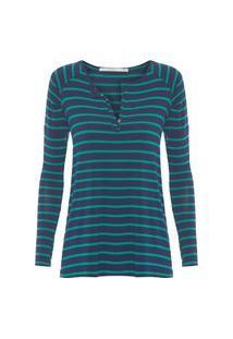 Blusa Feminina Raglan Com Fio Tinto Listra - Verde E Azul Marinho