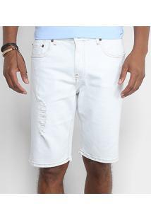 Bermuda Jeans Calvin Klein Delavê Rasgos Masculina - Masculino-Azul Claro