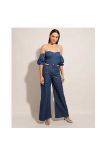 "Calça Wide Pantalona ""Juliette"" Jeans Cut Out Cintura Super Alta"