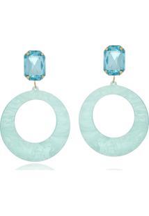 Brinco Le Diamond Acrílico Geométrico Base Cristal Azul