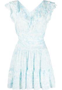 Poupette St Barth Vestido Reto Com Estampa Floral - Azul