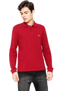 Camisa Polo Lacoste Regular Fit Detail Vinho