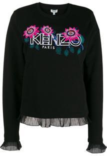 Kenzo Suéter Com Logo E Estampa Floral - Preto