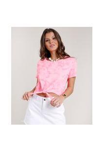Blusa Feminina Estampada Tie Dye Com Amarração Manga Curta Decote Redondo Rosa