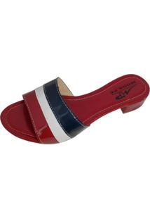 Sandália Tamanco Moda Pé Salto Bloco Baixo 2,5 Cm Cores: Vermelho, Branco E Azul Marinho