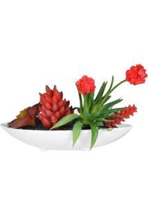 Vaso Com Flor Artificial- Branco & Vermelho- 31X37X2Btc Decor
