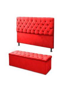 Cabeceira Mais Calçadeira Baú King 195Cm Para Cama Box Sofia Suede Vermelho - Ds Móveis