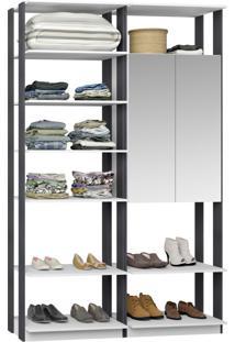 Closet 2 Portas Espelhadas 9012 Branco/Espresso - Bentec